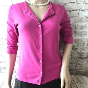 LANVIN Pink Fuchsia Lightweight Cardigan Sweater